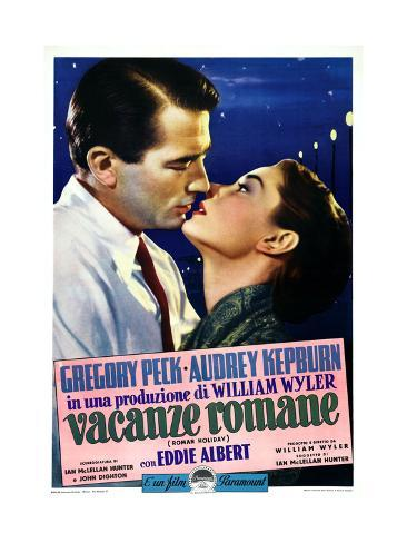 Roman Holiday, Left to Right: Gregory Peck, Audrey Hepburn on Italian Poster Art, 1953 Giclée-Druck
