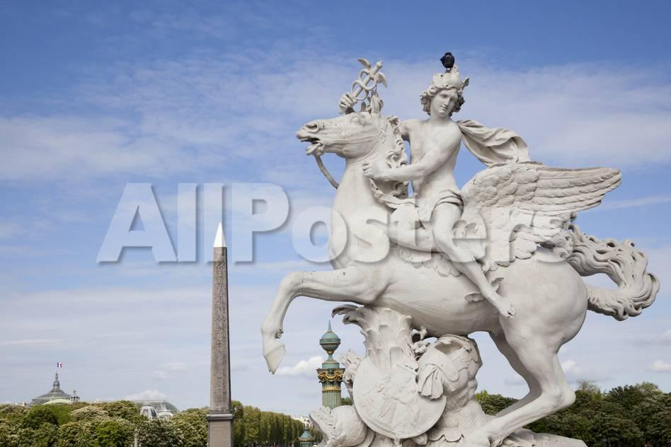 France, Paris, Tuileries Garden, Statue of Hermes (Mercury) with ...