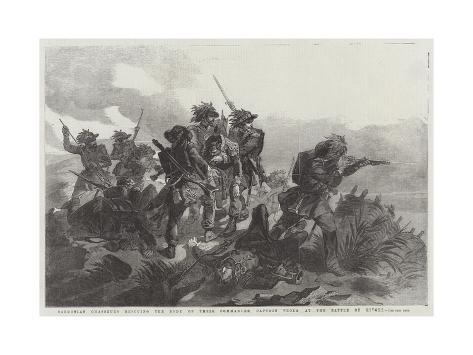 Sardinian Chasseurs Rescuing the Body of their Commander, Captain Prola at the Battle of Rivoli Giclée-Druck