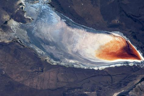 Satellite view of Lake Albert, Lake County, Oregon, USA Fotografie-Druck