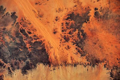 Satellite view of Sahara Desert, New Valley Governorate, Egypt Fotografie-Druck