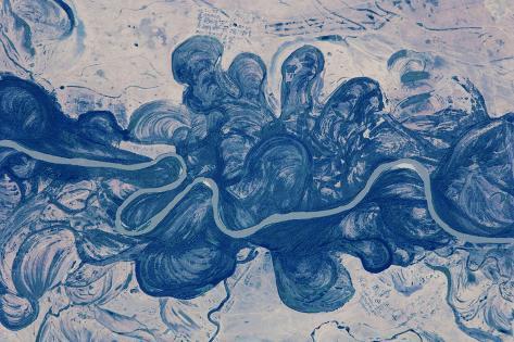 Satellite view of Urai River, West Kazakhstan Province, Kazakhstan Fotografie-Druck