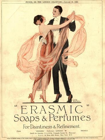 Seifen und Parfum von Erasmic, Tanz im Abendkleid, GB, 1920 Giclée-Druck