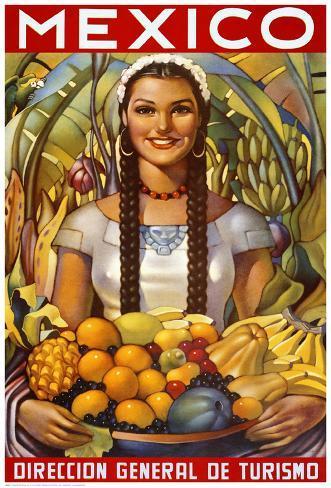 Senorita with Fruit Kunstdruck