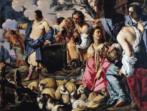 Moses and Jethro's Daughters Giclée-Druck