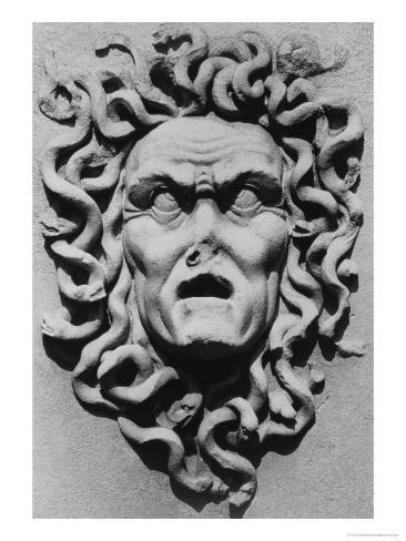 Stone Carving of a Medusa's Head, Belvoir Castle, Leicestershire Giclée-Druck