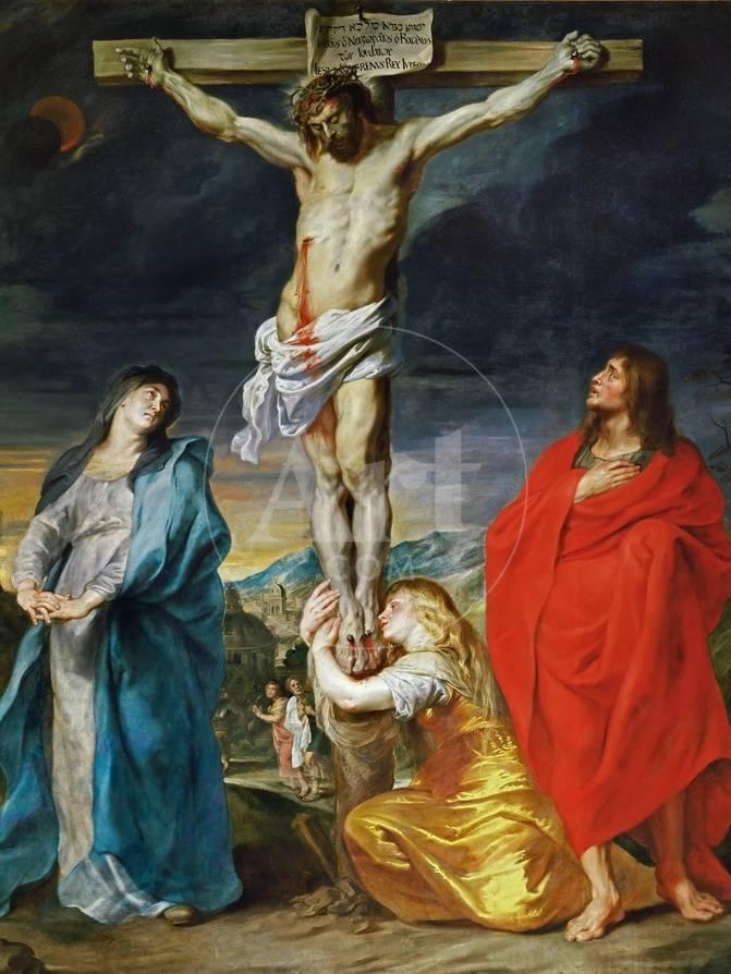 The Crucified Christ With The Virgin Mary Saints John The Baptist