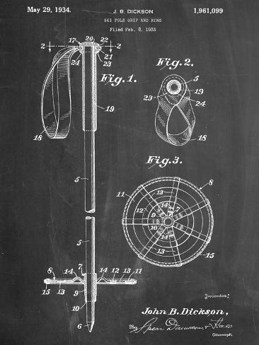 Ski Pole Patent Kunstdruck