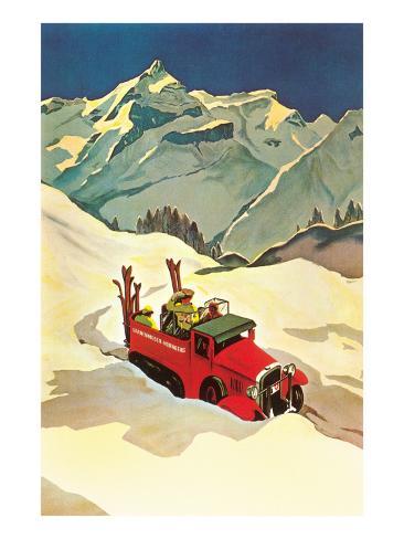 Ski Truck in Alps Kunstdruck