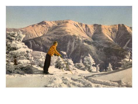 Skier Contemplating Mountain Kunstdruck