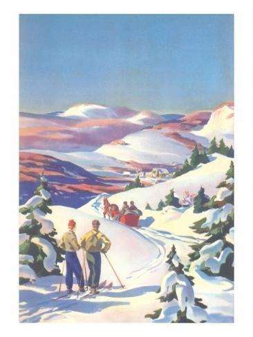 Skiers Watching Horse-Drawn Sleigh Kunstdruck