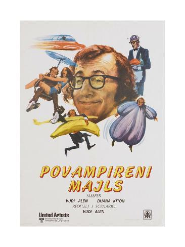 Sleeper, (aka Povampireni Majls), Yugoslavian poster, Woody Allen, 1973 Kunstdruck
