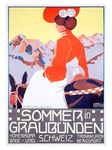 Sommer in Graubunden Giclée-Druck