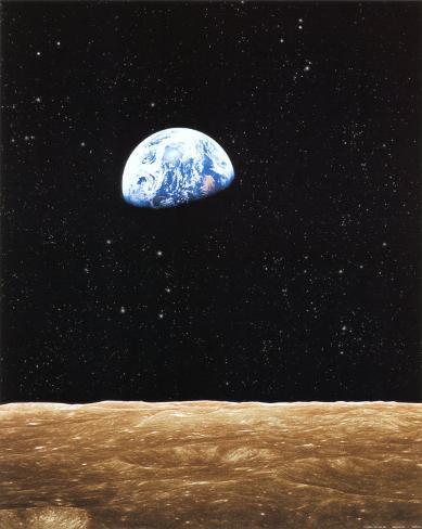 Sonnenaufgang auf der Erde, vom Mond aus gesehen Kunstdruck