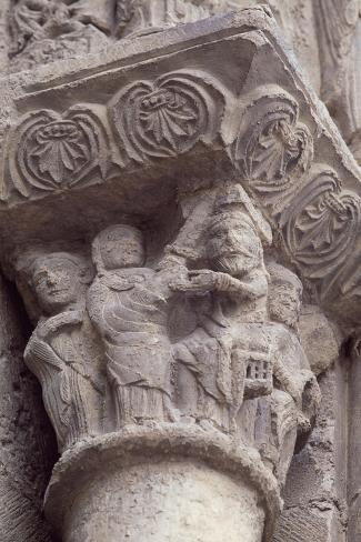 Spain, Navarre, Sanguesa, Church of Santa Maria La Real, Decorated Capital Giclée-Druck