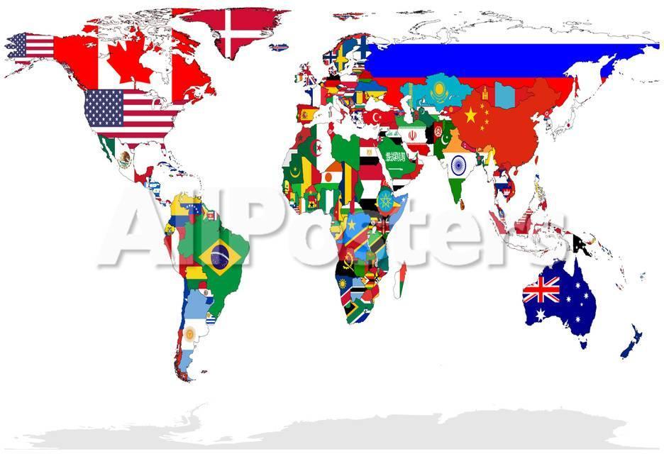 Karte von Welt mit Flaggen In Relevant Countries, Isolated On White ...