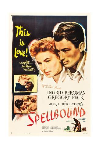 Spellbound, Ingrid Bergman, Gregory Peck on poster art, 1945 Kunstdruck