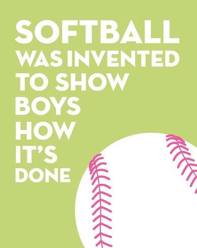 Softball Quote - White on Lime Kunstdruck