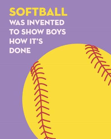 Softball Quote - Yellow on Purple Kunstdruck