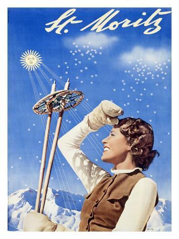 St. Moritz, Snow Ski Giclée-Druck