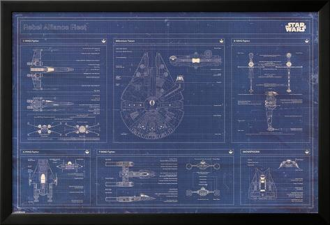 Star Wars - Rebel Alliance Fleet blueprint Laminiertes gerahmtes Poster