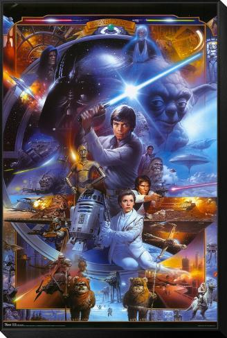 Star Wars - Saga Collage Gerahmter, auf Holz aufgezogener Druck