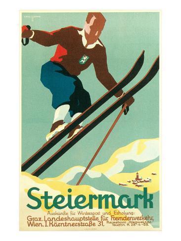 Steiermark Ski Poster Kunstdruck
