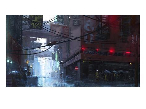 Japan Rain Giclée-Premiumdruck