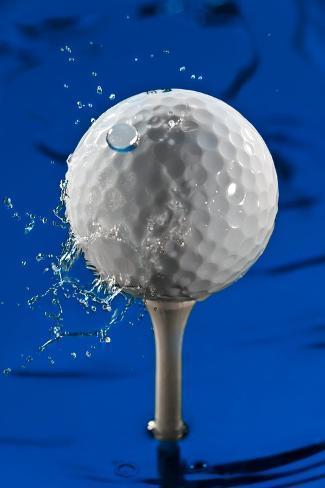 Blue Golf Ball Splash Fotografie-Druck