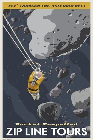 Zip Line Through the Asteroid Belt Bedruckte aufgespannte Leinwand