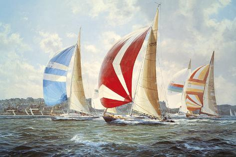 Summer Racing Off Cowes Giclée-Druck
