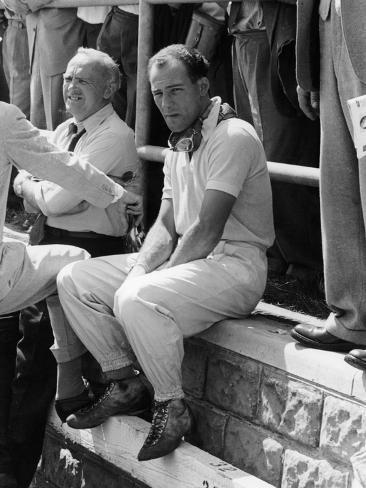 Stirling Moss at the British Grand Prix, Aintree, 1955 Fotografie-Druck