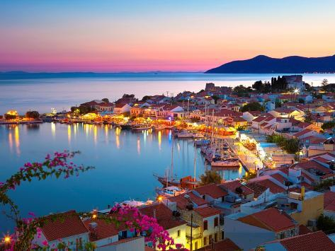 Greek Harbour at Dusk, Samos, Aegean Islands Kunstdruck