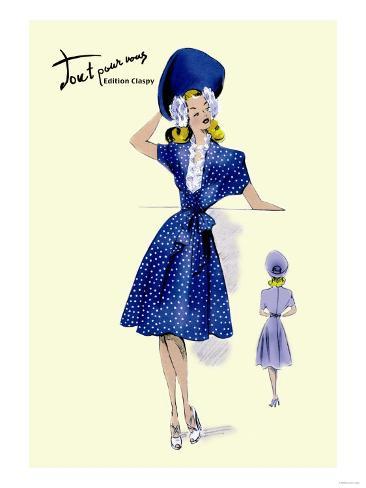 Summer Polka-Dot Dress and Hat Kunstdruck