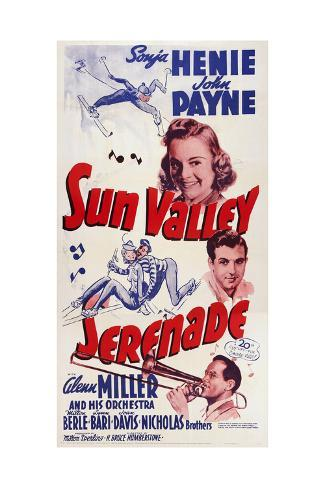 Sun Valley Serenade, from Top: Sonja Henie, John Payne, Glenn Miller, 1941 Giclée-Druck