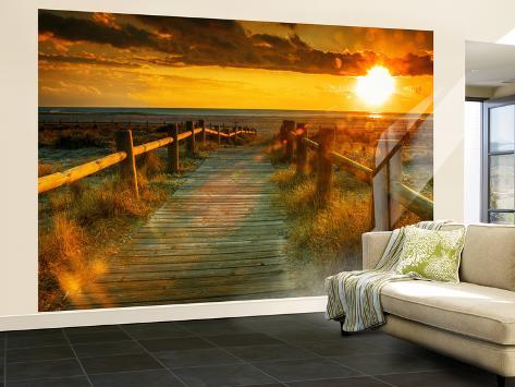 Sunset Beach Dock Non Woven Vlies Wallpaper Mural Behangposter