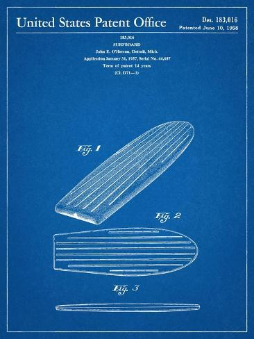 Surf Board Patent Kunstdruck
