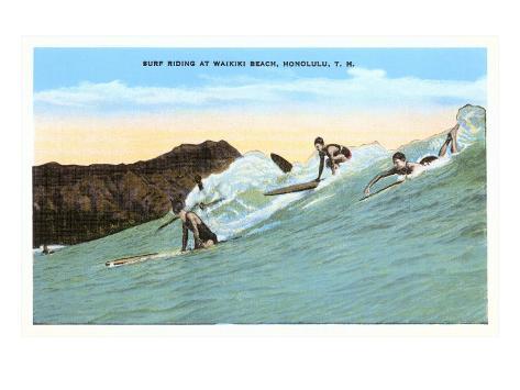 Surf Riding, Waikiki, Hawaii Kunstdruck
