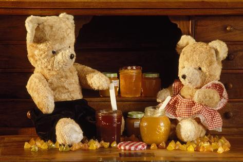 Teddy Bear with Honey and Jam Fotografie-Druck