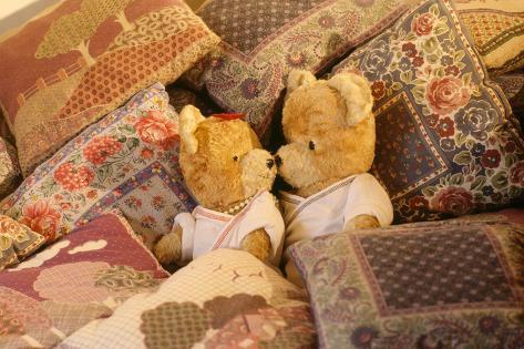 Teddy Bear X2 Teddies in Bed Fotografie-Druck