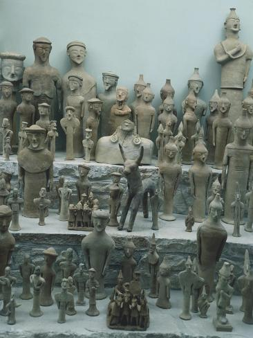 Terracotta Votive Statuettes, from the Sanctuary of Ayia Irini, Cyprus Giclée-Druck