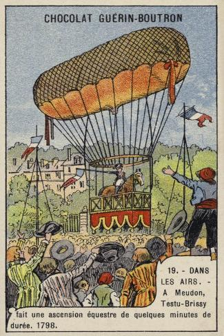 Testu-Brissy's Balloon Ascent on Horseback, Meudon, France, 1798 Giclée-Druck