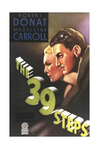 The 39 Steps, from Left: Madeleine Carroll, Robert Donat, 1935 Giclée-Druck