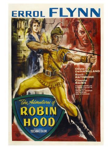 The Adventures of Robin Hood, UK Movie Poster, 1938 Giclée-Premiumdruck