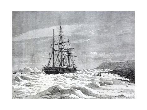 The Alert, Nipped by the Ice Against the Shore of Cape Beechey Giclée-Druck