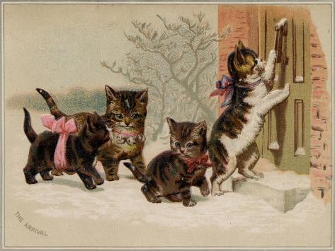 The Arrival Card with Four Kittens Approaching a Door, National Museum of American History Kunstdruck