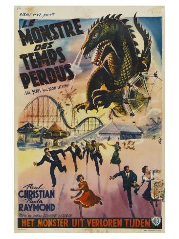 The Beast From 20,000 Fathoms, Belgian Movie Poster, 1953 Giclée-Premiumdruck