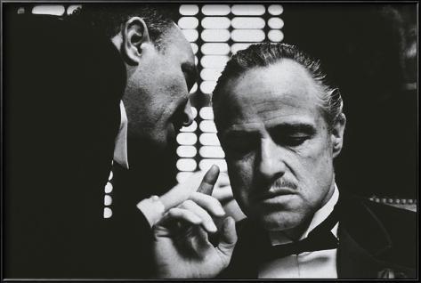 Filmposter uit The Godfather met Engels citaat Ingelijste kunstdruk