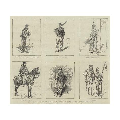 The Civil War in Spain, Types of the Alphonsist Troops Giclée-Druck