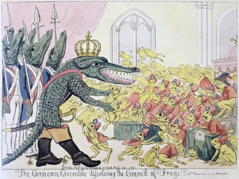 The Corsican Crocodile Dissolving the Council of Frogs, 9th November 1799 Giclée-Druck